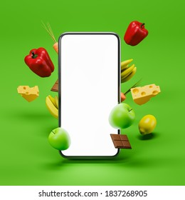 Smartphone blank screen on green background with vegetables, fruits, chocolate and cheese. Concept of online supermarket ordering groceries home. Mock up. 3d rendering