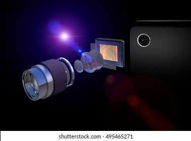Smartphone camera disassambled, concept, design, zoom lens, sensor / matrix, unassambled, realistic ligting, separate lenses, aperture, ring,  high quality image, lens flare, zoom effect, 3D rendering