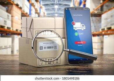 Smartphone mit Kartonboxen und Loupe. Logistik, Lieferung und Online-Orderverfolgung. 3D-Illustration