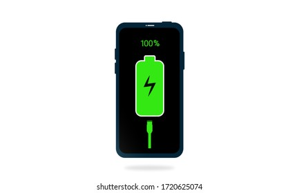 Smartphone charger animate graphics concept, Using power to charge mobile phones, Mobile phone batteries that are fully charged to 100%