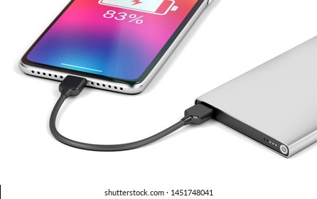 Smartphone charging with silver power bank, close-up. 3D illustration