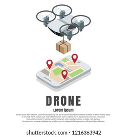 Smartphone controlled drone with parcel isometric illustration. Fast modern delivery by quadcopter concept design element with copy space for poster, banner etc.