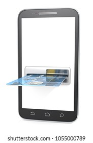 Smartphone with Credit Card Slot, ATM. Blank for copy space. 3d render.