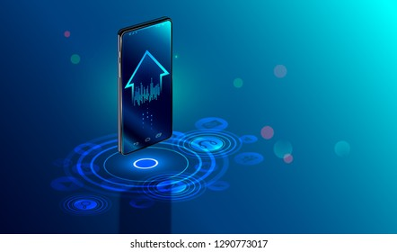 Smartphone with digital logo smart home stand at iot icons. Smart phone controls devices of smart home via wireless connection and voice commands. Internet of things concept.