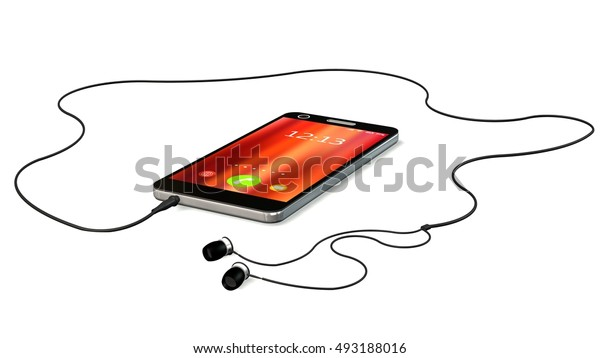 Smartphone with earphones isolated on white - 3d rendering