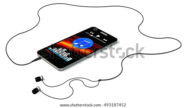 Smartphone with earphones and music player on display isolated on white - 3d rendering