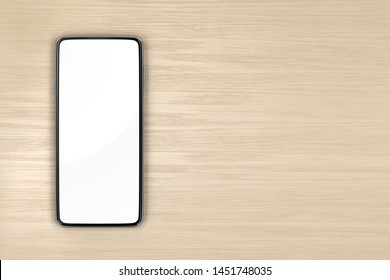 Smartphone with empty screen on wood table, top view. 3D illustration