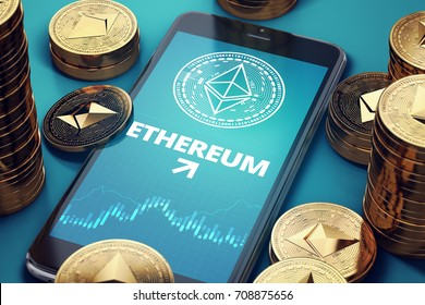 Smartphone with Ethereum growth chart on-screen among piles of golden Ethereum coins. ETH growth concept. 3D rendering