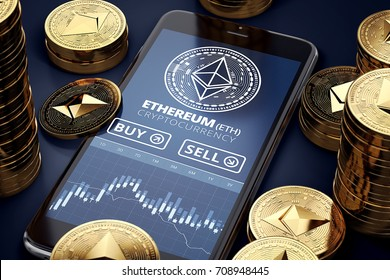 Smartphone with Ethereum trading chart on-screen among piles of golden Ether coins. Ethereum trading concept. 3D rendering