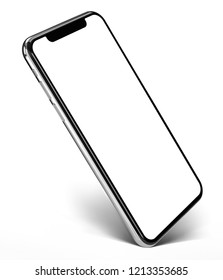 Smartphone frame less blank screen  - standing on corner