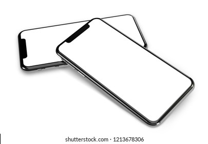 Smartphone frame less blank screen  - standing one on another - little focus effect