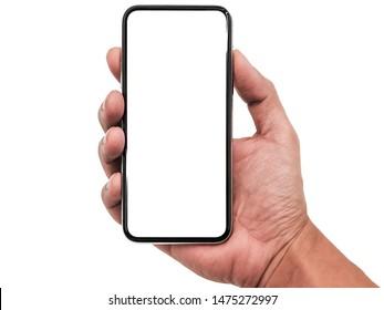Studioaufnahme von Smartphone iphoneX mit weißem leerem Bildschirm für Infografik Global Business Marketing Investitionsplan, Modell-Modell ähnlich dem iPhone 11 Pro Max. Investitionswirtschaft. HD