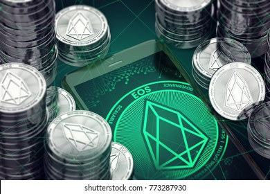 Smartphone with green EOS symbol on-screen among EOS coins.EOS concept coin & virtual wallet. 3D rendering