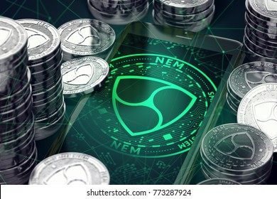 Smartphone with green NEM symbol on-screen among NEM coins. NEM concept coin & virtual wallet. 3D rendering