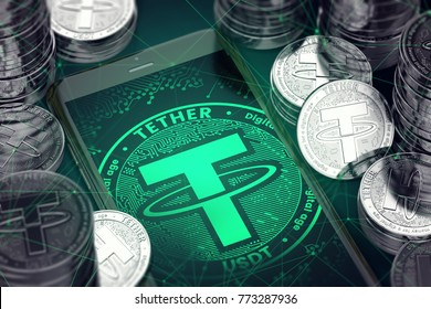 Smartphone with green Tether symbol on-screen among Tether coins. Tether concept coin & virtual wallet. 3D rendering