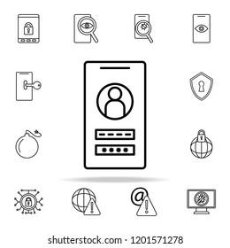smartphone identification icon. Virus antivirus icons universal set for web and mobile