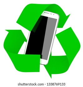 smartphone inside symbol recycle isolated on white background, 3d illustration