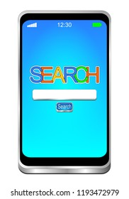 Smartphone with internet web search engine - 3D illustration