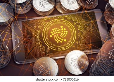 Smartphone with IOTA on-screen among piles of IOTA coins. IOTA in danger concept. 3D rendering