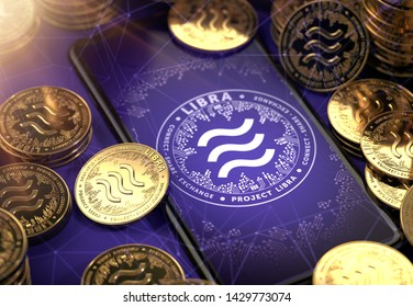 Smartphone with Libra concept coin design on-screen among piles of golden concept coins. Libra as valuable asset concept. 3D rendering