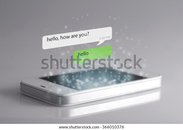 Smartphone and message icons. A message is a short communication sent from one person to another or the central theme or idea of a communication.