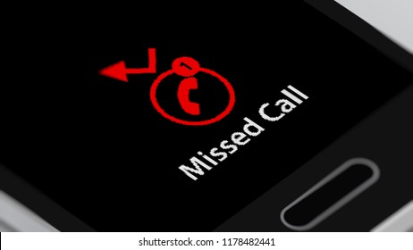 Smartphone with Missed Call on Smart Phone Screen. 3D illustration.
