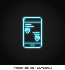 Smartphone mobile with love messages neon icon. Phone chat with heart symbols. Romantic contacts sign.