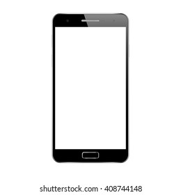 Smartphone mockup with blank screen. Perfectly detailed cell phone isolated on white background. Realistic mobile phone. Isolated black smart phone. Bitmap copy