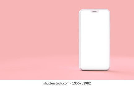 Smartphone mockup with blank white screen on a pink background. 3D Render