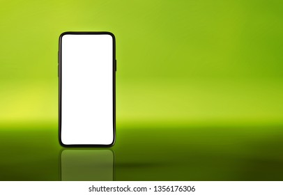 Smartphone mockup with a colorful green background. With copy space (3d rendering)