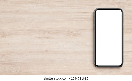 Smartphone mockup flat lay lying on wooden office desk. Banner with copy space. 3D illustration.