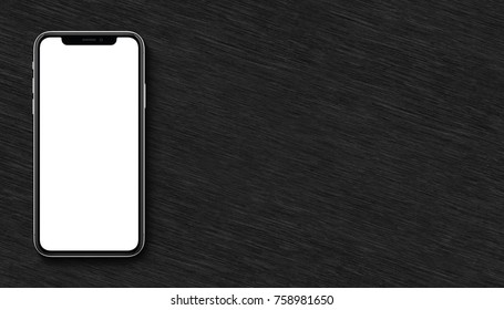Smartphone mockup lying on black wooden office desk. Banner with copy space.