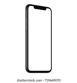 Smartphone mockup. New modern black frameless CCW rotated smartphone mockup with white screen. Isolated on white background. Smartphone frameless design concept.