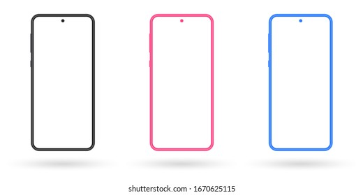 Smartphone mockup set. Mobile phone screen blank. Colorful cellphones isolated on white background.