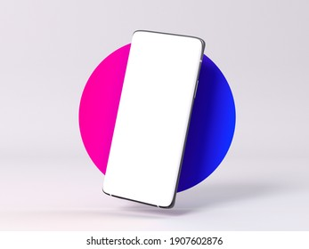 Smartphone mockup with white empty display screen 3d rendering
