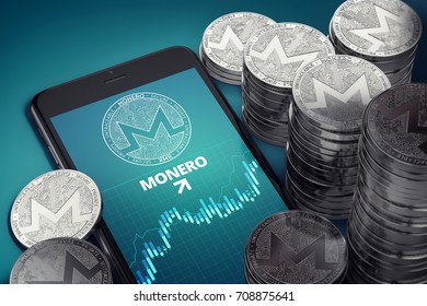 Smartphone with Monero growth chart on-screen among piles of silver Monero coins. Monero growth concept. 3D rendering