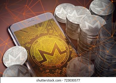 Smartphone with Monero on-screen among piles of Monero coins. Monero in danger concept. 3D rendering