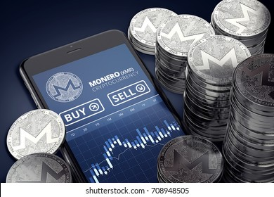 Smartphone with Monero trading chart on-screen among piles of silver Monero coins. Monero trading concept. 3D rendering