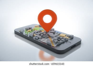 Smartphone with navigator map and pointer. Navigation, location route, travel and tourism  planning concept. 3D illustration.