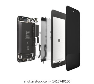 Smartphone in the open state Illustration of smartphone components isolated on white background 3d render without shadow