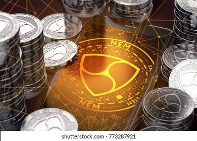 Smartphone with orange NEM symbol on-screen among silver NEM coins. NEM concept coin & virtual wallet. 3D rendering