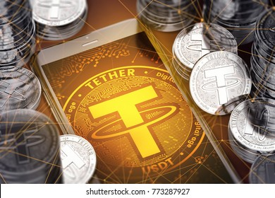 Smartphone with orange Tether symbol on-screen among silver Tether coins. Tether concept coin & virtual wallet. 3D rendering