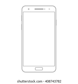 Smartphone outline template. Wireframe contour of mobile phone, touchphone isolated on white background. Blank screen. Bitmap copy