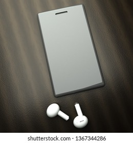 Smartphone over table with white wireless earphones, 3d rendering
