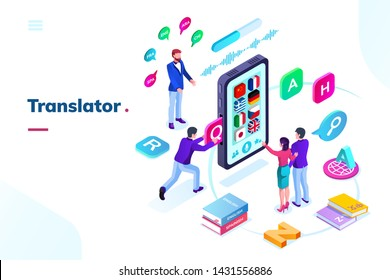 Smartphone or phone with online language translator. Isometric view on translation app with flags, application for multilingual simultaneous communication or talk. Foreign language interpreter with AI