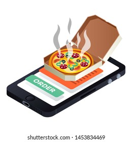 Smartphone pizza order icon. Isometric of smartphone pizza order icon for web design isolated on white background