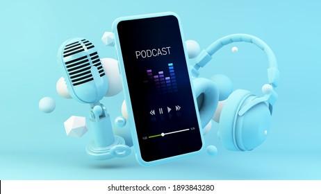 Aplicación para podcast Smartphone con auriculares azules y representación 3d de micrófono