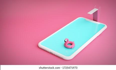 smartphone pool concept 3d rendering