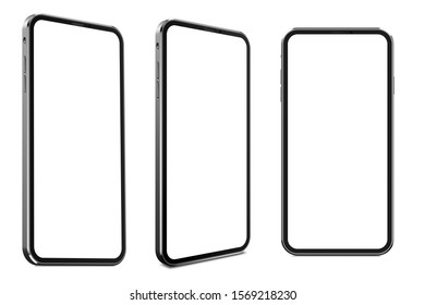 Smartphone Pro frameless blank screen mockup template perspective view, best detailed quality of - 3d illustration