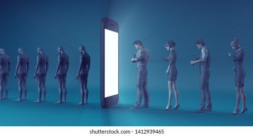 Smartphone Problems in Society as a Concept 3D Render